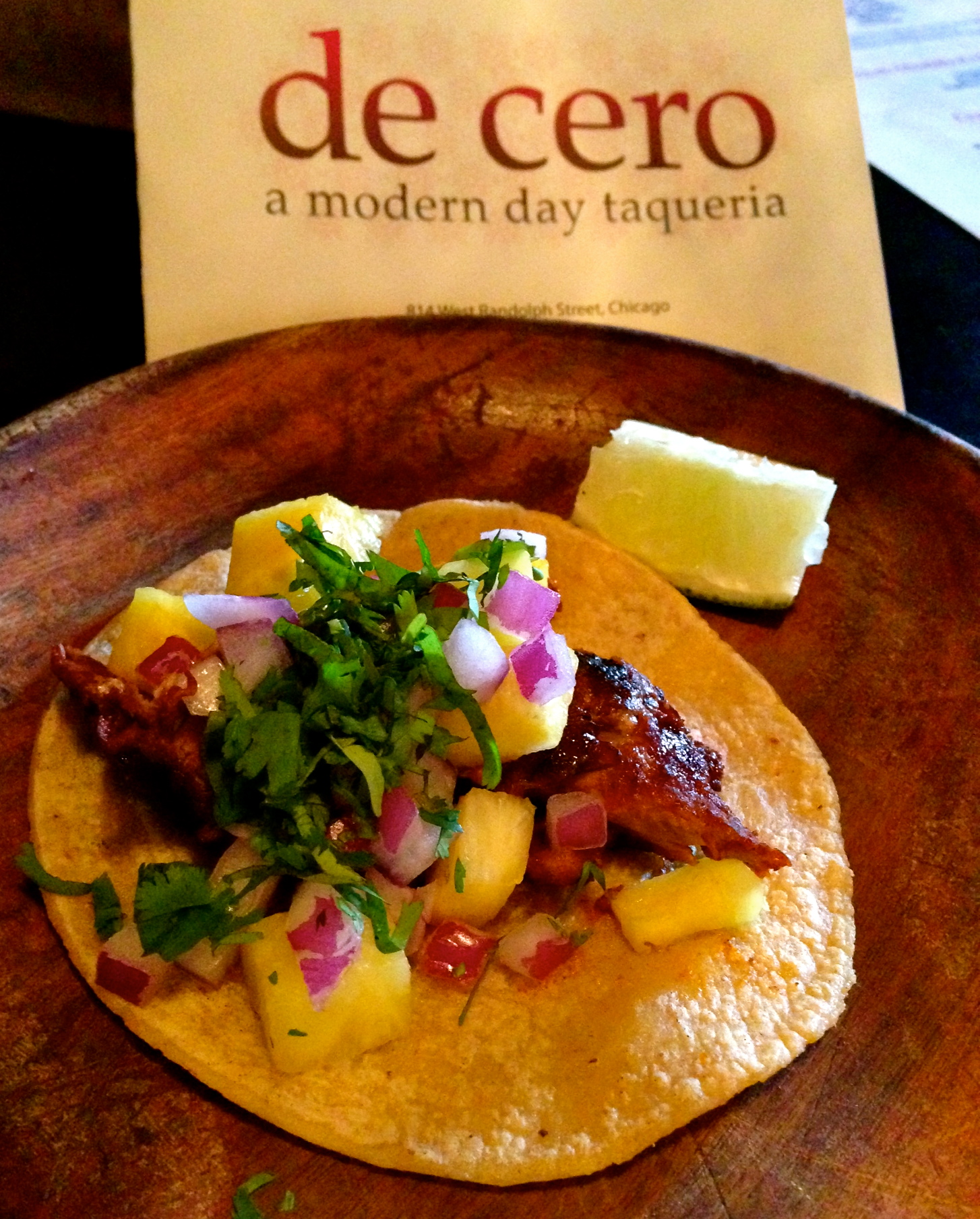 Taco al pastor at De Cero,   814 West randolph St., Chicago